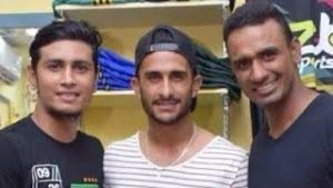 Karnal Zahid with Pakistani fast bowler hasan ali