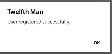 twelfth man registration successful