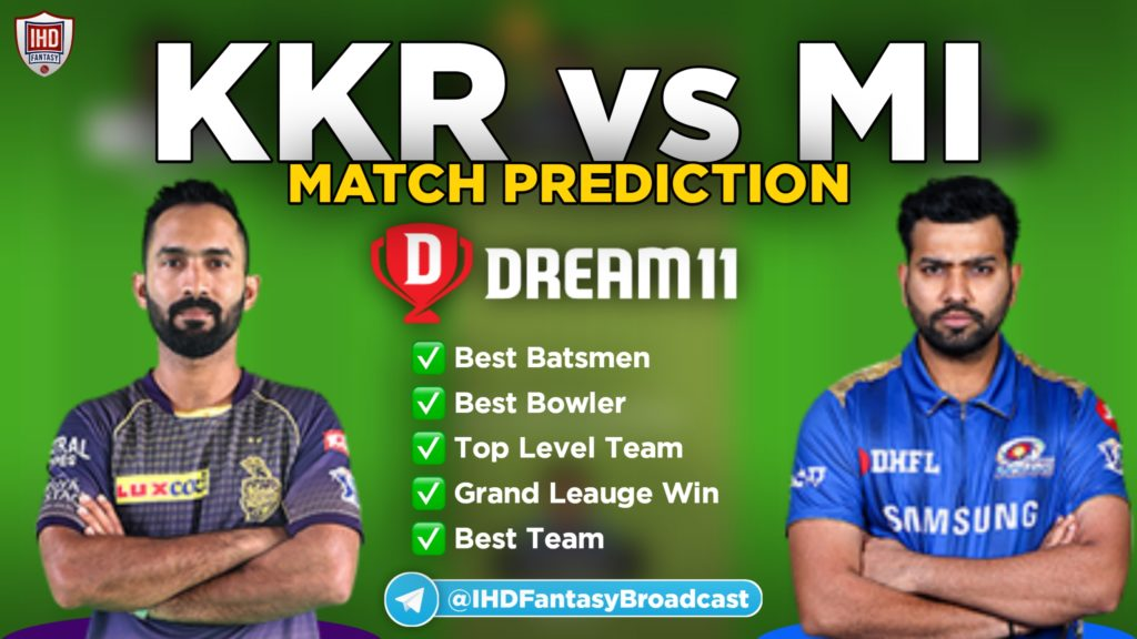 KKR vs MI dream11 team prediction