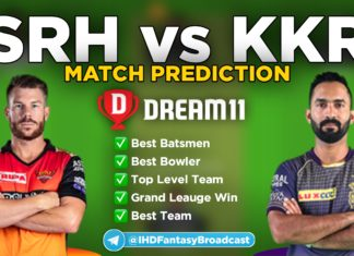 KKR vs SRH Dream11 team prediction