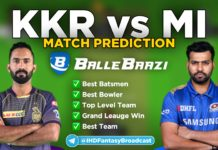 IPL 2020 - Match 5 KKR vs MI Ballebazi Team Prediction Today Match