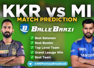 IPL 2020 - Match 5 KKR vs MI Ballebazi Team Prediction Today Match