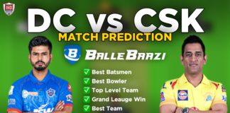 IPL 2020 - Match 7 CSK vs DC Ballebazi Team Prediction Today Match