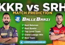 IPL 2020 - Match 8 KKR vs SRH Ballebaazi Team Prediction Today Match