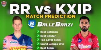 IPL 2020 - Match 9 RR vs KXIP Ballebaazi Team Prediction Today Match