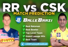 IPL 2020 - Match 4 RR vs CSK Ballebazi Team Prediction Today Match