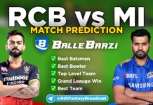 IPL 2020 - Match 10 RCB vs MI Ballebaazi Team Prediction Today Match