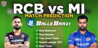 IPL 2020 - Match 10 RCB vs MI Ballebaazi Team Prediction Today Match