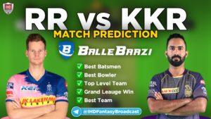 IPL 2020 - Match 12 RR vs KKR Ballebaazi Team Prediction Today Match