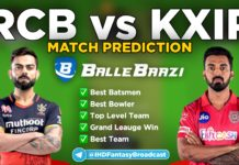 IPL 2020 - Match 5 KXIP vs RCB Ballebazi Team Prediction Today Match