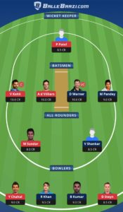 SRH vs RCB Balebaazi Team For Grand League