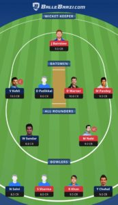 SRH vs RCB Ballebazi Team for small league