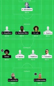 LEI VS ARS TODAY DREAM11 FOOTBALL TEAM