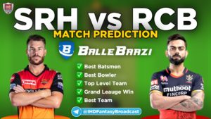 IPL 2020 - Match 3 SRH vs RCB Ballebazi Team Prediction Today Match