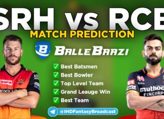 IPL 2020 - Match 3 SRH vs RCB Ballebazi Team Prediction Today Match