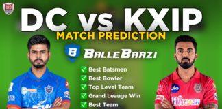 IPL 2020 - Match 2 DC vs KXIP Ballebazi Team Prediction Today Match