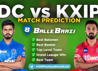 IPL 2020 - Match 2 DC vs KXIP Ballebazi Team Prediction Today Match