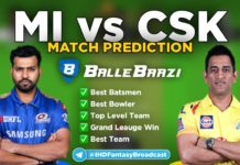 IPL 2020 - Match 1 MI vs CSK Ballebazi Team Prediction Today Match