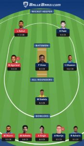 DC vs KXIP Balebaazi Team For Grand League