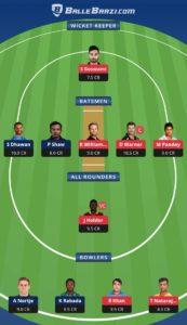 DC vs SRH Balebaazi Team For Grand League