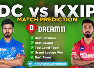 KXIP vs DC Dream11 team prediction