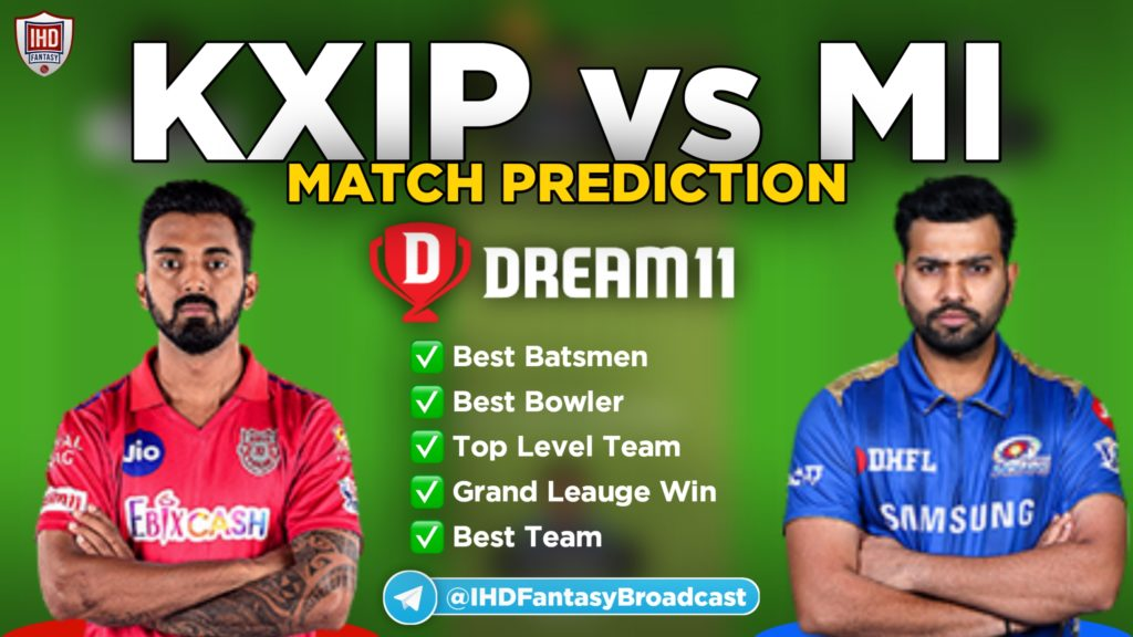 KXIP vs MI Dream11 team prediction