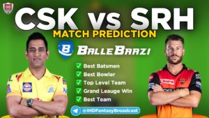 IPL 2020 - Match 14 CSK vs SRH Ballebaazi Team Prediction Today Match
