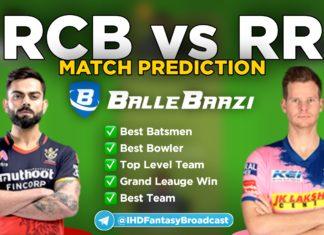 IPL 2020 - Match 15 RCB vs RR Ballebaazi Team Prediction Today Match