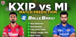 IPL 2020 - Match 13 MI vs KXIP Ballebaazi Team Prediction Today Match