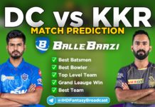 IPL 2020 - Match 15 DD vs KKR Ballebaazi Team Prediction Today Match