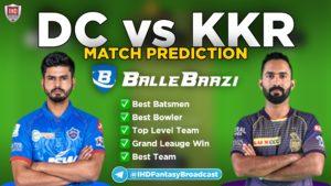 IPL 2020 - Match 15 DD vs KKR Ballebaazi Team Prediction Today Match
