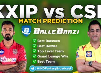IPL 2020 - Match 18 KXIP vs CSK Ballebaazi Team Prediction Today Match