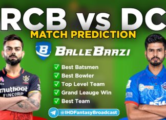 IPL 2020 - Match 19 RCB vs DC Ballebaazi Team Prediction Today Match
