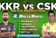IPL 2020 - Match 21 KKR vs CSK Ballebaazi Team Prediction Today Match