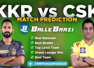 IPL 2020 - Match 21 KKR vs CSK Ballebaazi Team Prediction Today Match