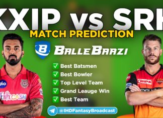 IPL 2020 - Match 22 KXIP vs SRH Ballebaazi Team Prediction Today Match