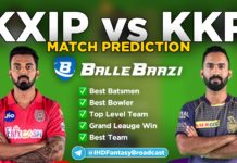 IPL 2020 - Match 24 KXIP vs KKR Ballebaazi Team Prediction Today Match