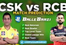 IPL 2020 - Match 25 CSK vs RCB Ballebaazi Team Prediction Today Match