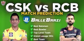 IPL 2020 - Match 25 CSK vs RCB Ballebaazi Team Prediction Today Match