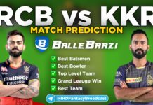 IPL 2020 - Match 28 RCB vs KKR Ballebaazi Team Prediction Today Match