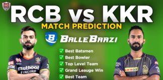 IPL 2020 - Match 28 RCB vs KKR Ballebaazi Team Prediction Today Match