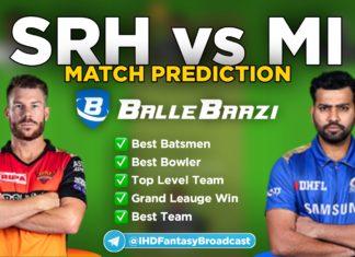 IPL 2020 - Match 16 MI vs SRH Ballebaazi Team Prediction Today Match