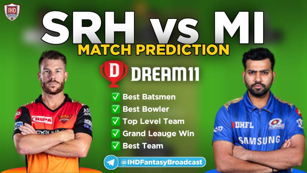 MI vs SRH Dream11 Team prediction
