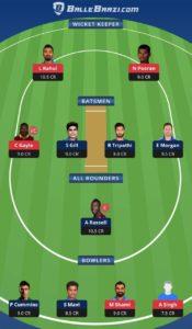 KXIP vs KKR Balebaazi Team For Grand League