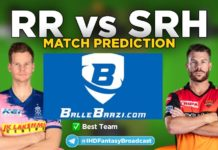 IPL 2020 - Match 26 SRH vs RR Ballebaazi Team Prediction Today Match