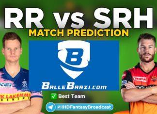 IPL 2020 - Match 26 SRH vs RR Ballebaazi Team Prediction Today Match