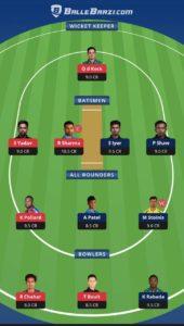 MI vs DC Ballebaazi Team for small league