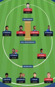 MI vs DC Balebaazi Team For Grand League
