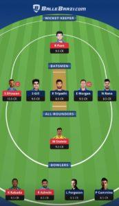 DC vs KKR Balebaazi Team For Grand League