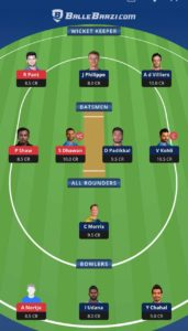 RCB vs DC Balebaazi Team For Grand League